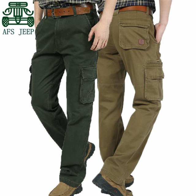 AFS JEEP 100% Algodón hombres Pantalones de Carga, 40/42/44 Más El Tamaño de Los Hombres bolsillos de ocio Mutil bolsillos Encuadre de Cuerpo Entero Pantalones Pantalones de Marca