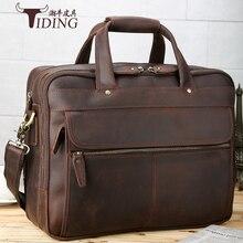 "Купить с кэшбэком men handbags crazy horse leather2017 man brand brown business casualgenuine leather shoulder travel bags male 16"" laptop bags"