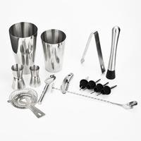 13Pcs Cocktail Shaker Set Maker Mixer Spirits Muddler Bar Strainer Jigger Boston Shaker Knife Jigger Bottle Opener Ice Tongs
