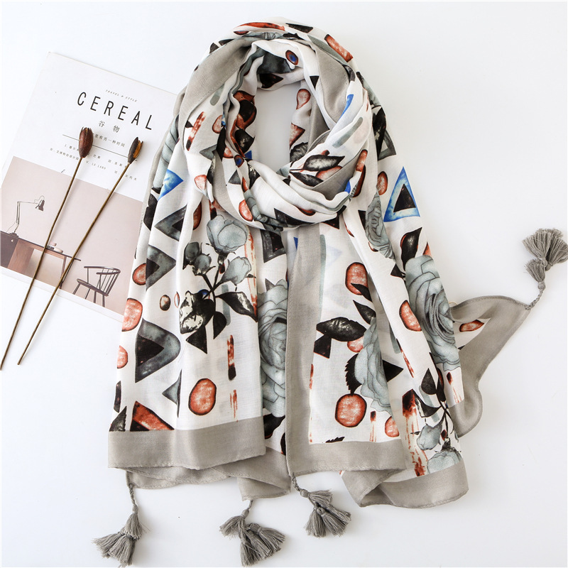 Bright Rose Scarf Women Large Shawls mixed with Geometric Design Print Foulard [3596]