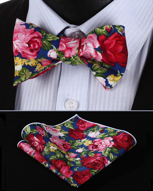 09adc97a3a3e BMF403VS Navy Blue Pink Floral Bowtie Men Cotton Self Bow Tie handkerchief  set Pocket Square Classic Party Wedding
