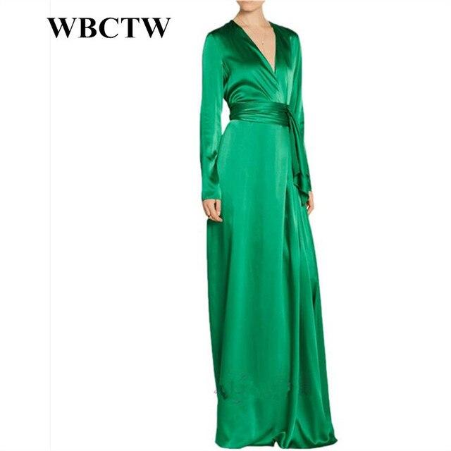 245df560abc WBCTW 7XL Plus Size Women Clothing Long Sleeve Floor Length Green A-Line Vintage  Autumn Party Dress Elegant Woman Satin Dress
