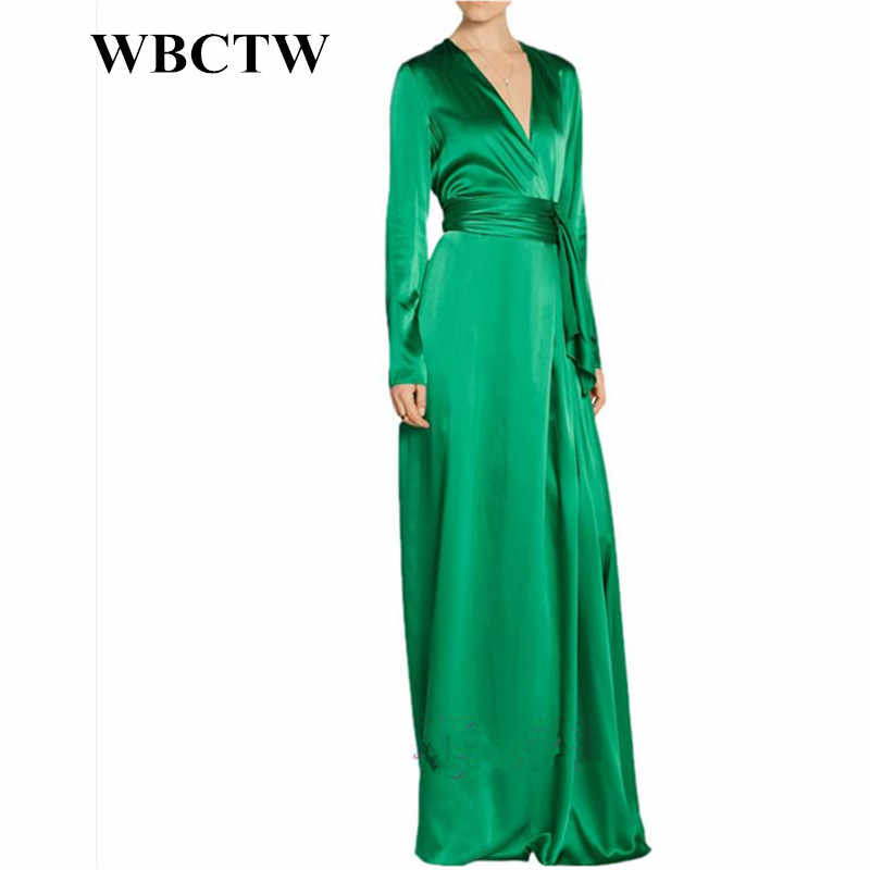 WBCTW 7XL Plus Size Women Clothing Long Sleeve Floor Length Green A-Line  Vintage Autumn 6a7b11f66b50
