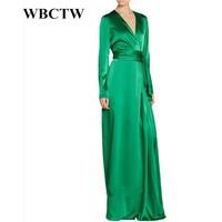 WBCTW 7XL Plus Size Women Clothing Long Sleeve Floor Length Green A Line Vintage Autumn Party Dress Elegant Woman Satin Dress