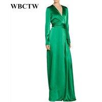 Wbctw 7xlプラスサイズの女性服ロングスリーブフロアレングスグリーンaラインヴィンテージ秋パーティードレスエレガントな女