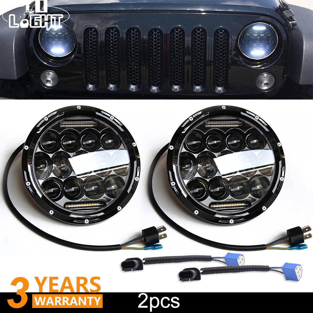 CO LIGHT 7 inch Led Headlights Daytime Running Lights 75W Angel Eye Hi Lo Led Lamp For Auto Niva 4X4 Jeep Wrangler Car Accessory