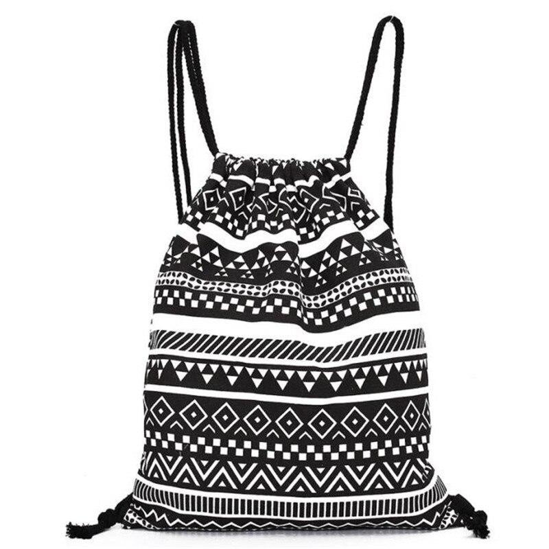 Unisex Backpack National Canvas Drawstring School Bagpack Vintage College Student Girls Casual Bag Printing Sack Bag #35