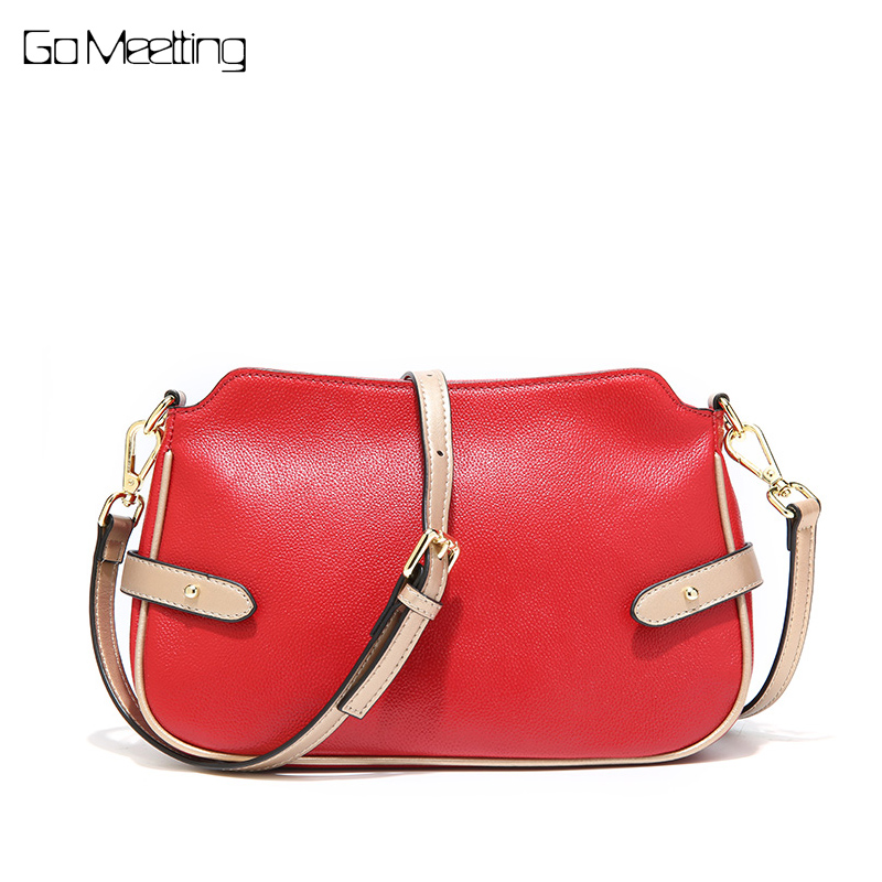 Go Meetting Women Shoulder Messenger Bags Genuine Leather Handbag Female Fashion Crossbody Bag High Quality Ladies Small Bag сумка truespin waist bag beige brown