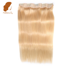 Addbeauty 14″-22″ Straight Full Head Clip in Machine Made Remy Hair Extensions 70g-100g 613 Blonde 5 Clips in 1 piece Human Hair
