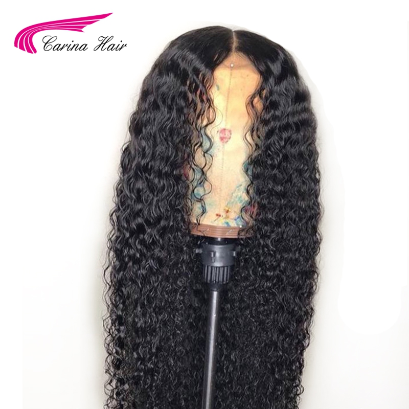 Carina 4*4 Silk Base Lace Font Wigs with Baby Hair Malaysia Kinky Curly Remy Human Hair Silk Base Wig Pre-Plucked Bleached Knots