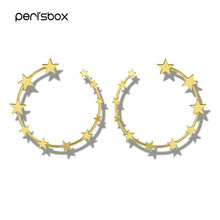 Peri'sBox Gold Sliver Multi Star Heart Large Hoop Earrings for Women Minimalist Big Earrings Open Circle Hoop Earrings Wholesale(China)