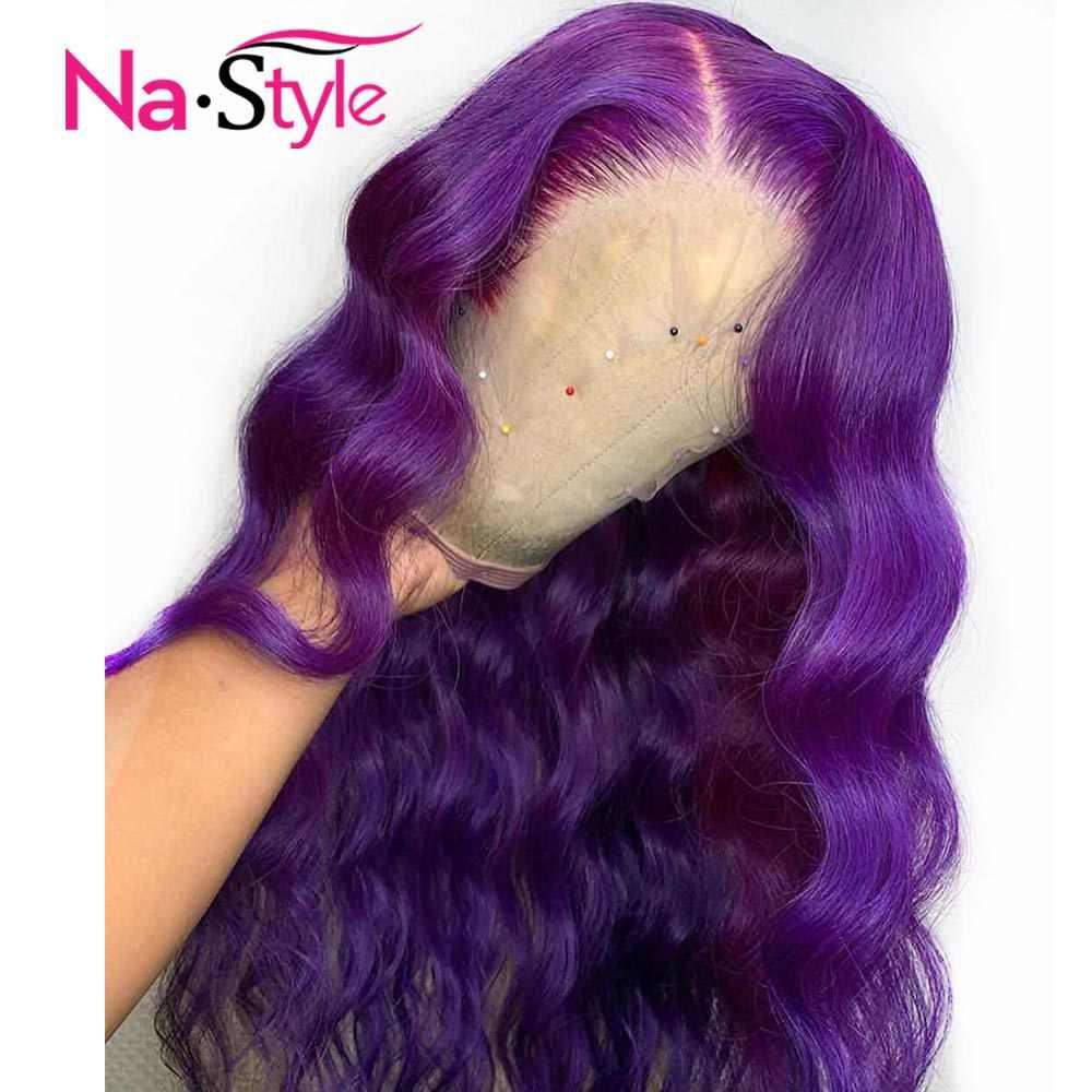 Фиолетовый Цветной парики из натуральных волос с Африканской структурой, свободная волна 13x6 Синтетические волосы на кружеве парики прозрачные кружевные парики предварительно Hd Синтетические волосы на кружеве al парик человеческих волос