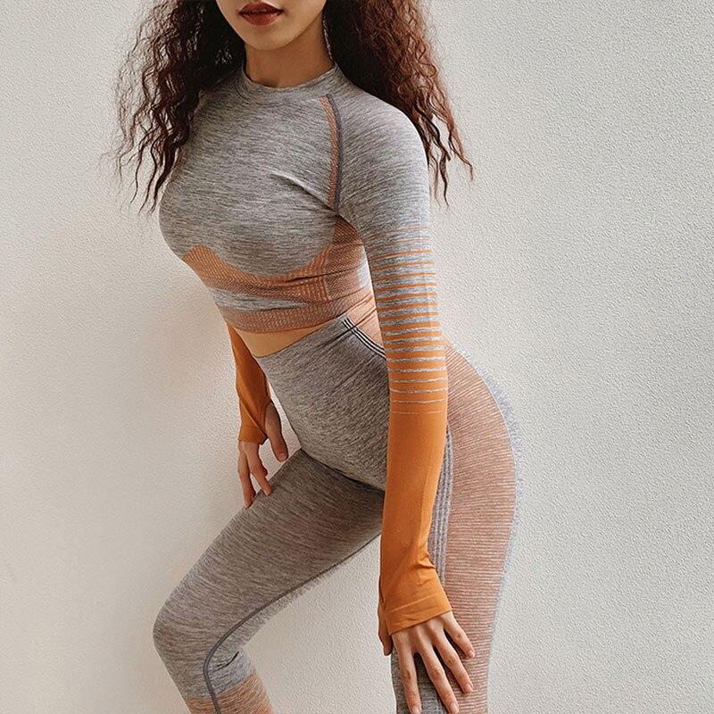 2 pièces ensemble de Yoga sans couture vêtements d'entraînement pour les femmes à manches longues haut court Sport costume sous-vêtements de Sport Gym Fitness tenue vêtements