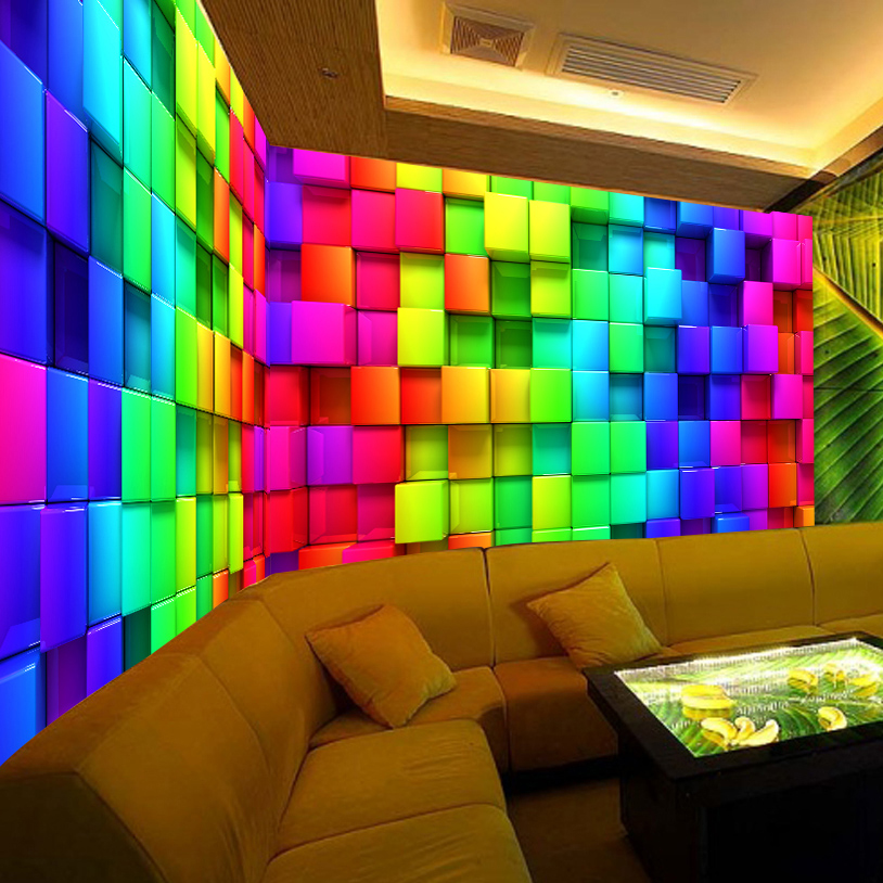 Custom Wall Mural Wallpaper Modern Art Painting Colorful Lattices KTV Bar Living Room TV Background 3D Wall Murals Wallpaper