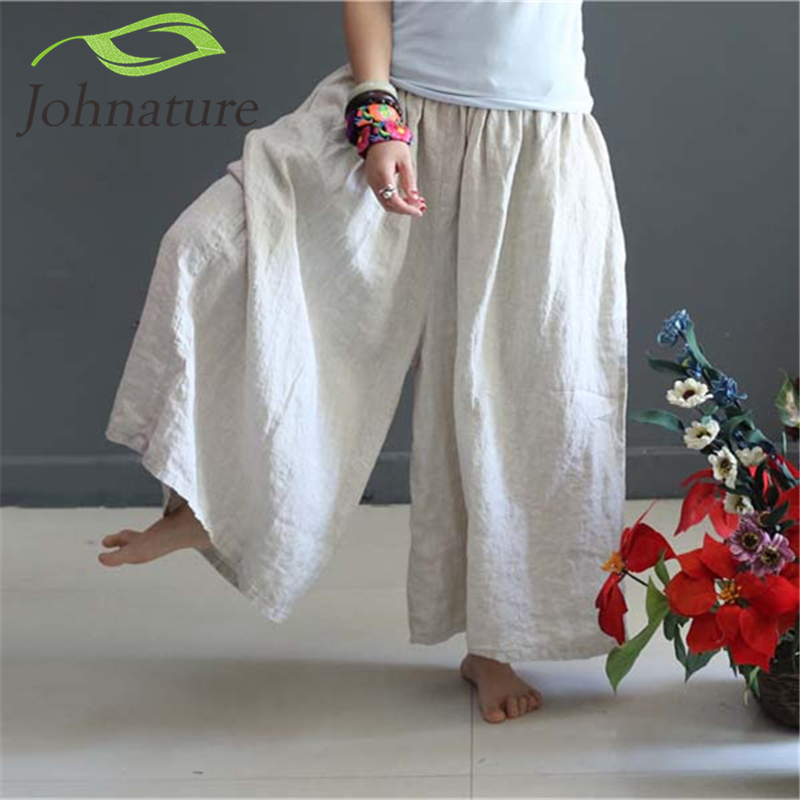 Johnature Original 2018 Autumn Women Loose Linen Trouser Casual Chinese Style Elastic Waist Vintage Plus Size   Wide     Leg     Pants