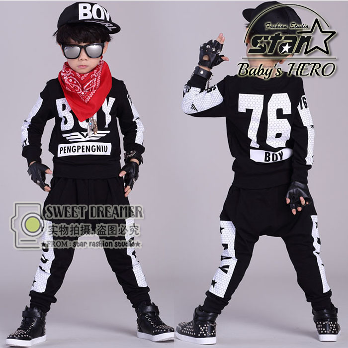 Kids Hip Hop Clothing Sets 2 Pieces Children Fall Fashion Clothes Cool Sweatshirt + Harem Pants Teenage Boys Girls Tracksuit