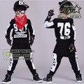 Niños Hip Hop Ropa Establece 2 Unidades Niños Otoño Ropa de Moda Fresco de la Camiseta + Harem Chicos Adolescentes Niñas Chándal