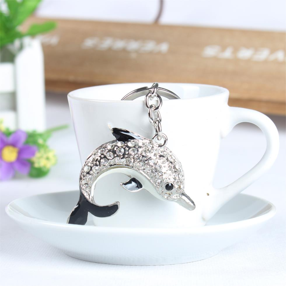 Dolphin Porpoise Lovely Cute Crystal Charm Purse Handbag Car Key Keyring Keychain Party Wedding Birthday Gift