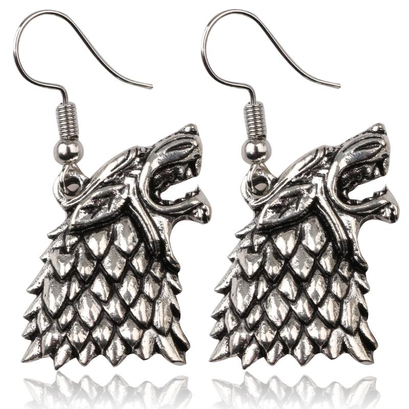 Hot Sell Game of Thrones sorozat Stark Family Goshawk Head Badge Wolf Targaryen Fülbevaló forró Filmek Ékszerek