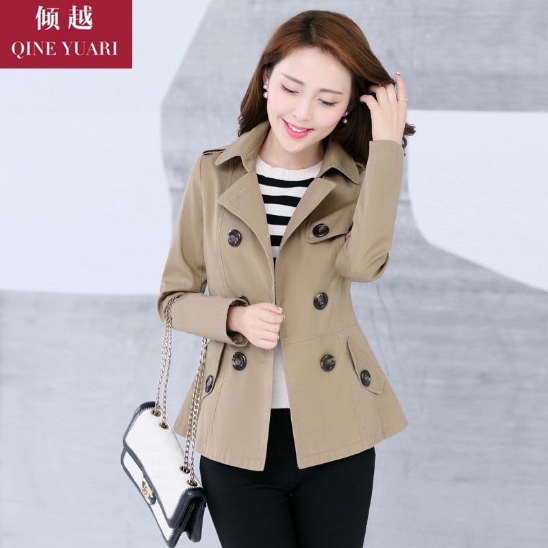 2015 nueva corea mujer abrigo corto y doble de pecho del