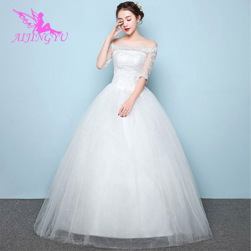 AIJINGYU 2018 Elegant Free Shipping New Hot Selling Cheap Ball Gown Lace Up Back Formal Bride Dresses Wedding Dress WU207