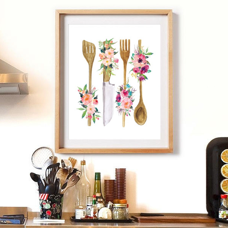 Floral Kitchen Utensil Print Kitchen Wall Art Decor Wooden Utensil Art Canvas Painting Wall Picture Poster Home Decoration