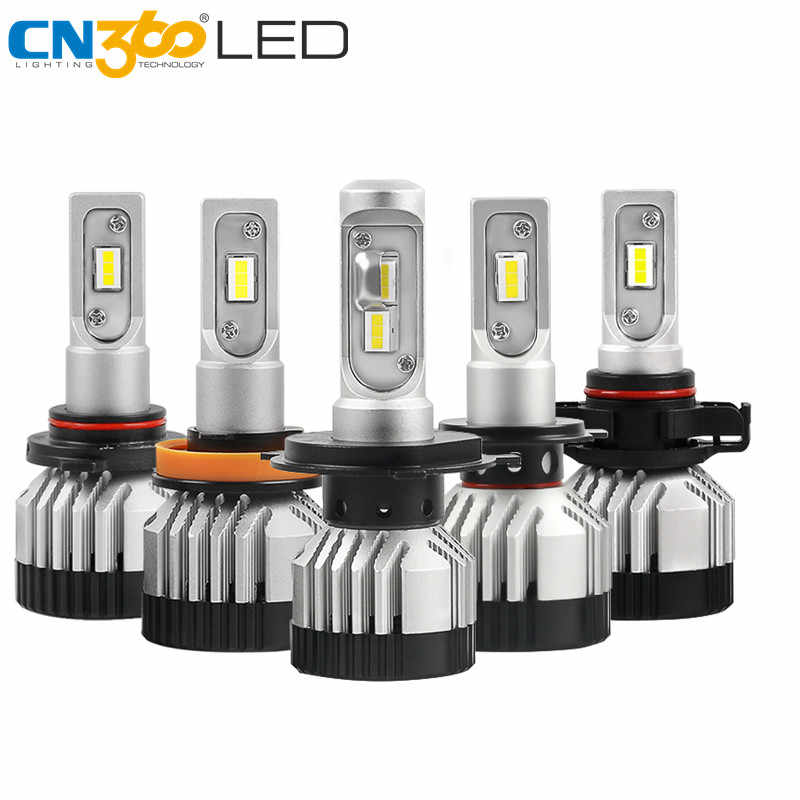 CN360 2PCS H7 LED Bulb H4 H11 9005 9006 Car Headlight Canbus Lamp 12V 24V 14000LM 6500K 45W Headlamp Projectors Lens Light