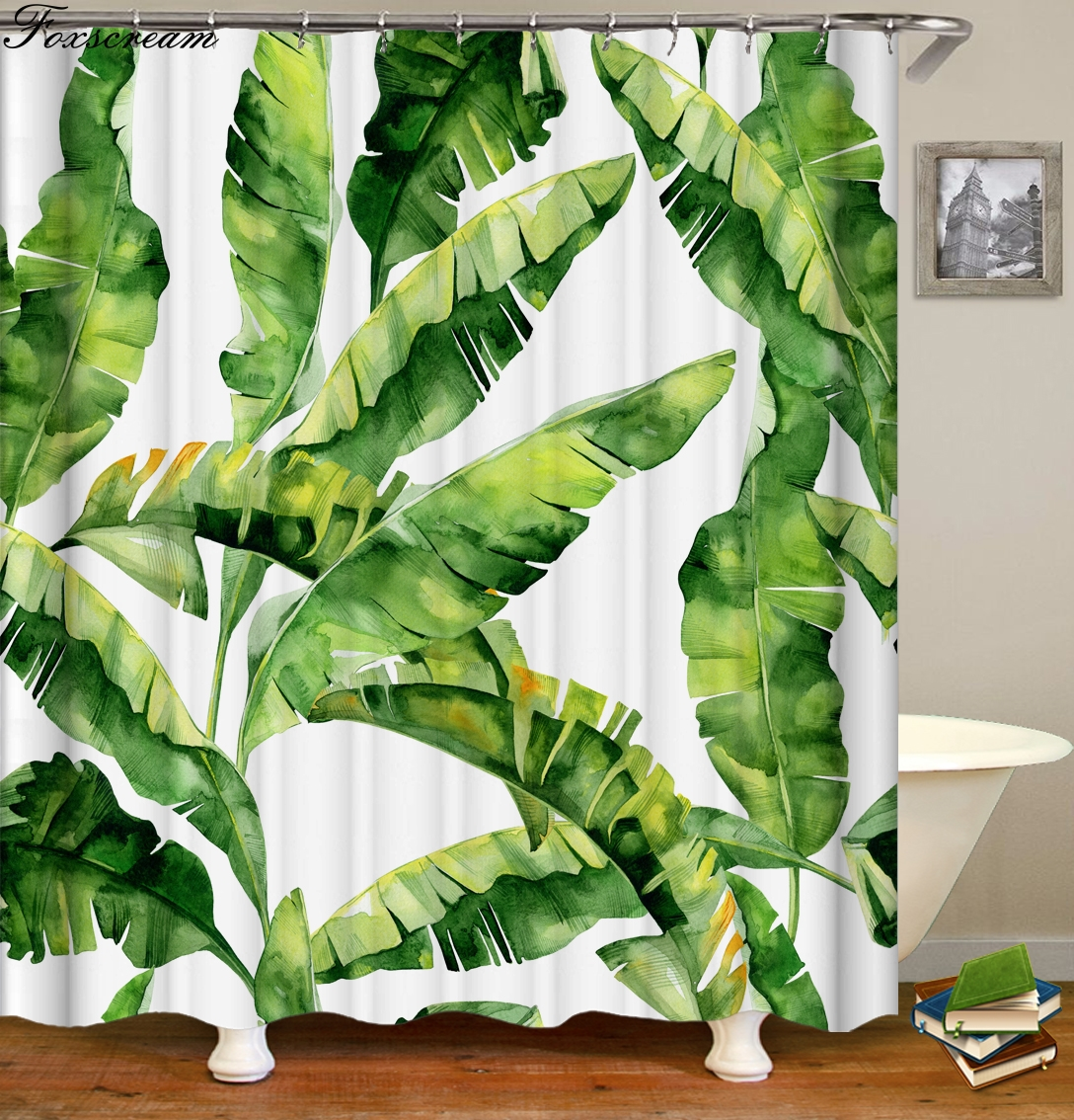 Us 6 29 30 Off Leaf Curtains For Bathroom Tropical Shower Curtain Polyester Fabric Waterproof Green Bathroom Green Leaves Shower Curtain In Shower