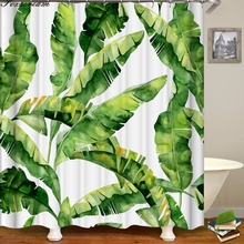 Leaf-Curtains Tropical Fabric Bathroom Green-Leaves Polyester Waterproof for Shower