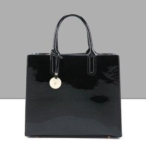Image 3 - Tasarımcı Marka Ünlü Büyük Patent Deri Tote Çanta Çanta omuzdan askili çanta Satchel Çanta Saffiano Tote Çanta Jöle Yüksek Kaliteli