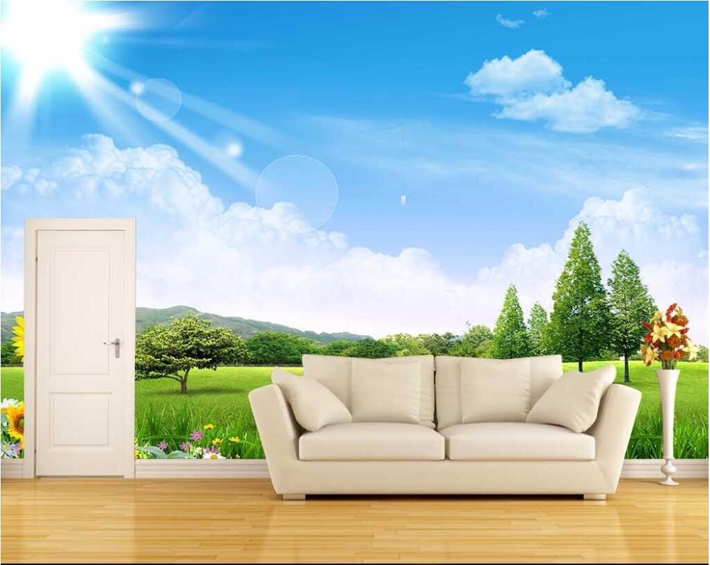 Online Buy Wholesale 3d Blue Sky And Grass Wallpaper From China 3d
