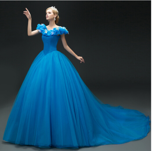 Princess Cinderella Wedding Dress Costume For: Hot Sale 2015 New Movie Deluxe Blue Cinderella Dress