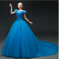 Hot Sale 2015 New Movie Deluxe Blue Cinderella Dress Cosplay Costume Party Dress Princess Dress Adult Cinderella Costume S 2XL