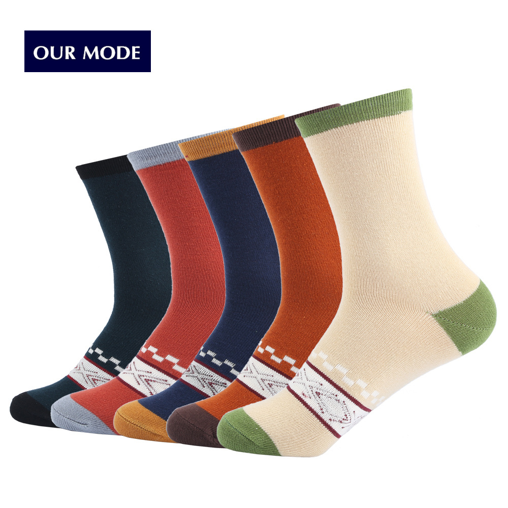 OUR MODE men winter geometry creative patterns thick lines cotton socks male thicken warm causal socks 5pairs/lot
