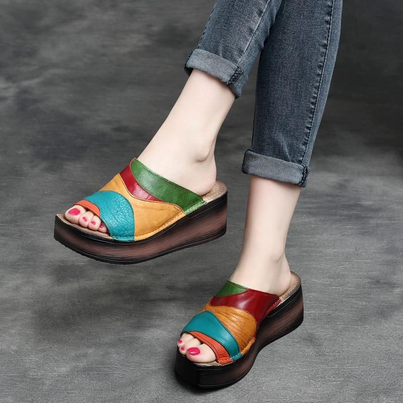 Women Leather Slippers Wedge Summer Shoes 6 CM High Heels Slippers Women Rainbow Peep Toe Handmade