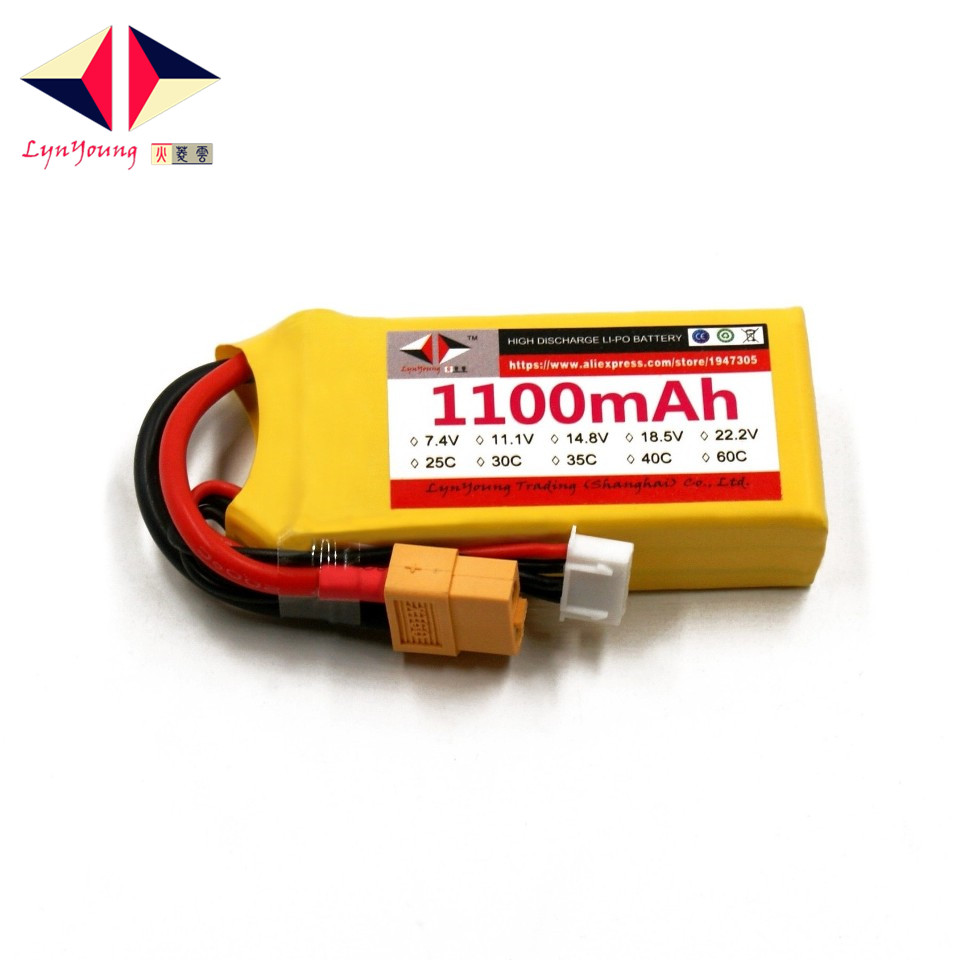 LYNYOUNG rc lipo 11 1v font b battery b font 3s 30C 1100mAh for RC Drone