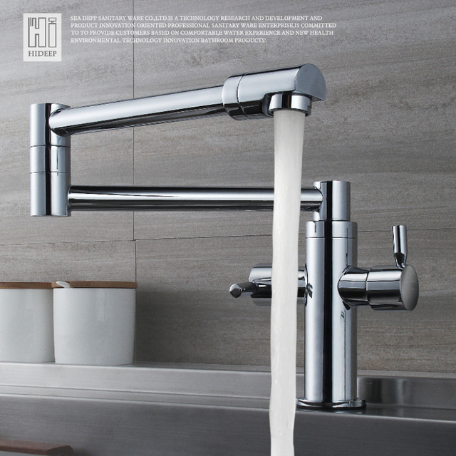 HIDEEP Kitchen Taps Foldable 360 Swivel Kitchen Hot Cold Water Faucet Solid  Brass Plated Chrome Kitchen