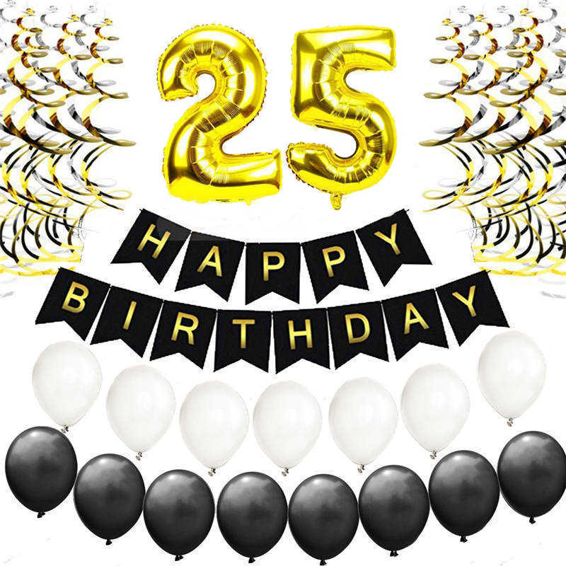 Gold Black 25th Birthday Balloons Kit Silver Happy Letter 25 Years Old Party