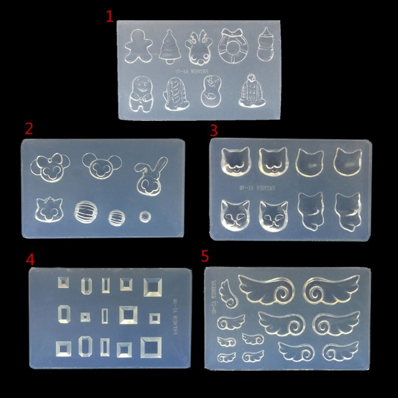 DIY Nail Art Silicone Mold 3D Cat Rabbit Wing Square Resin Mold Jewelry Tools