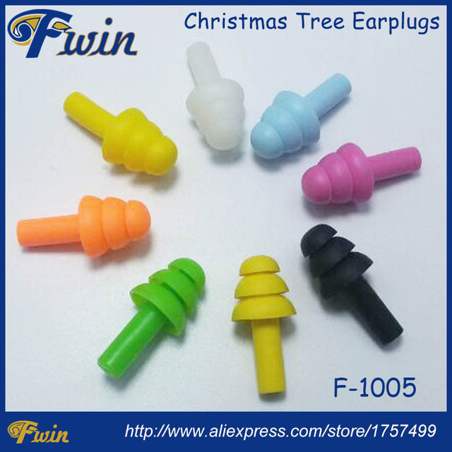 Latest high quality cute candy color waterproof silicone plugs christmas trees wireless ear plugs tubbing bath swimming earplugs