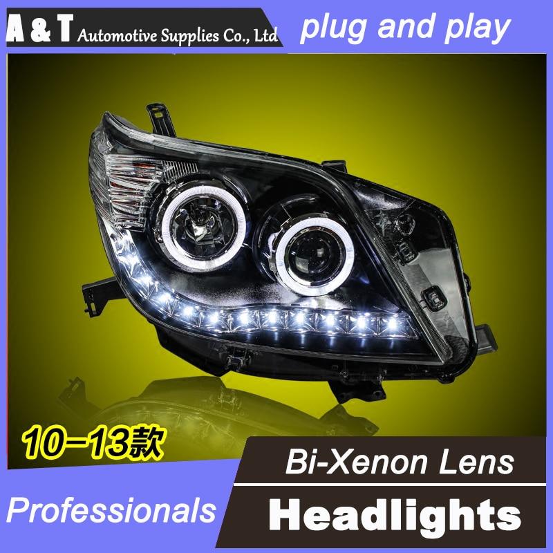 цена на car styling For Toyota Prado headlights U angel eyes DRL 2010-2013 For Toyota Prado LED light bar DRL Q5 bi xenon lens h7 xenon