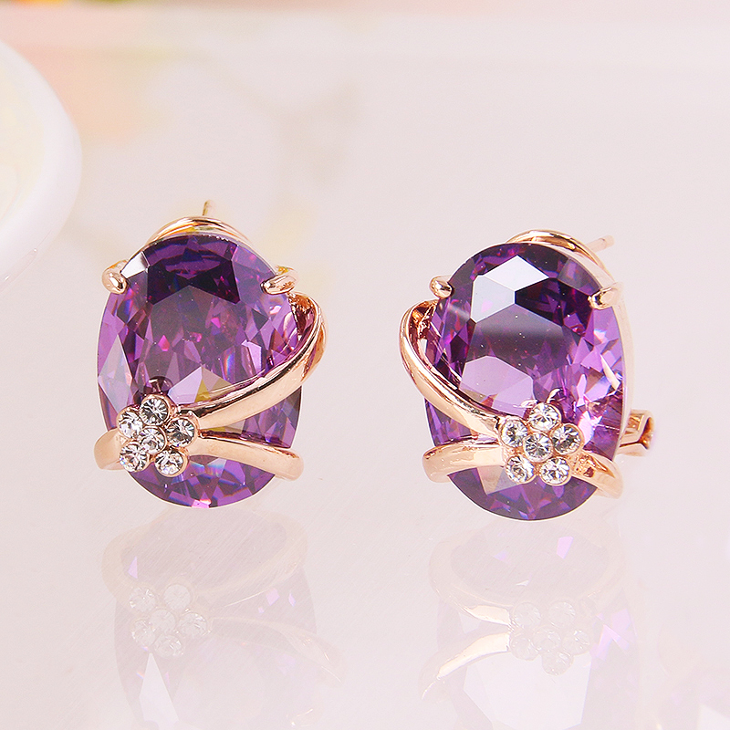 Yilinna Jewelry E123312 new elegant crystal CZ earring zinc alloy rose gold color silver color with high quality zircon fashion lady jewelry