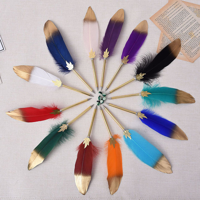 1Pc Cute Feather Ballpoint Pens 0.5mm Kawaii Ball Pens Gold Powder Pens For Writing School Office Supplies Novelty Stationery 1