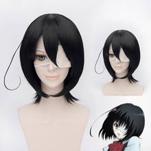 Başka bir Mei Misaki Peruk Siyah Kısa Isıya Dayanıklı Sentetik Saç Cosplay Peruk + göz bandı seçin