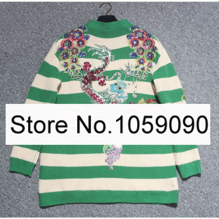 1c68e12b897 LUXURY 100% WOOL GREEN STRIPED EMBROIDERED CARDIGAN SWEATERS GEM SEQUINED  BEADED V-NECK FLORAL