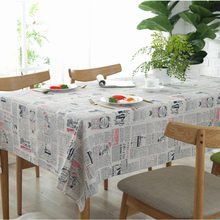 Byetee Newspaper Printed Cotton LinenTable Cloth Tablecloth For Kitchen Table Cover Rectangular Bar Cafe Cloth(China)