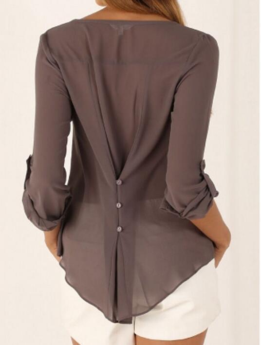 2017 Summer burst version v-neck sexy long-sleeved chiffon unlined upper garment of accept waist irregular big yards