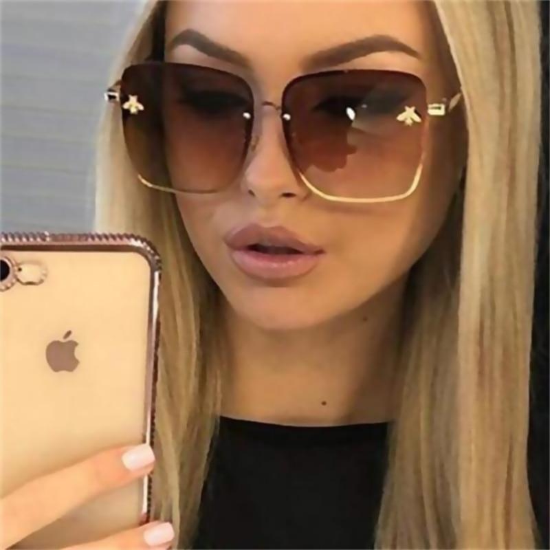 TOYEARN Luxury Brand Design Lady Oversize Rimless Square Sunglasses Women Small Bee Glasses Gradient Sun Glasses For Female
