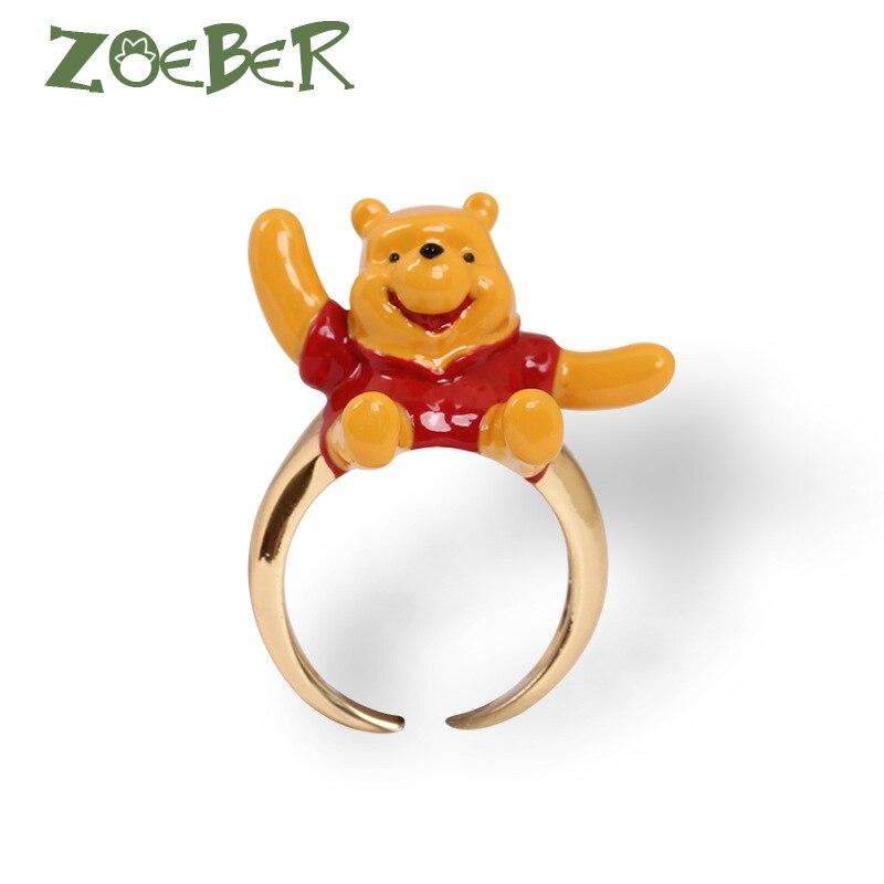 Zoeber New Style Adjustable Winnie Pooh Wedding Rings Women Men 3D Enamel Glaze Couple Cute Promise Animal Ring RJ2117 цена в Москве и Питере
