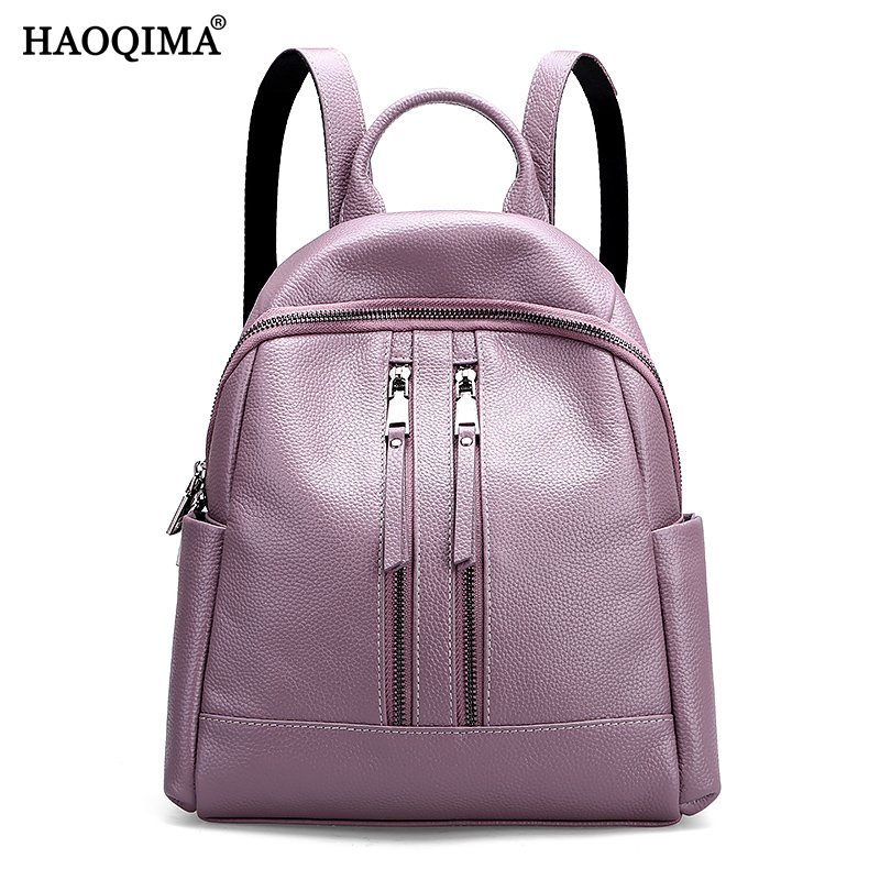 HAOQIMA Genuine Leather Luxury Brand Backpacks New Design 2018 Real Cowhide Women Female Backpack Girl School Bag hot sale women s backpack the oil wax of cowhide leather backpack women casual gentlewoman small bags genuine leather school bag